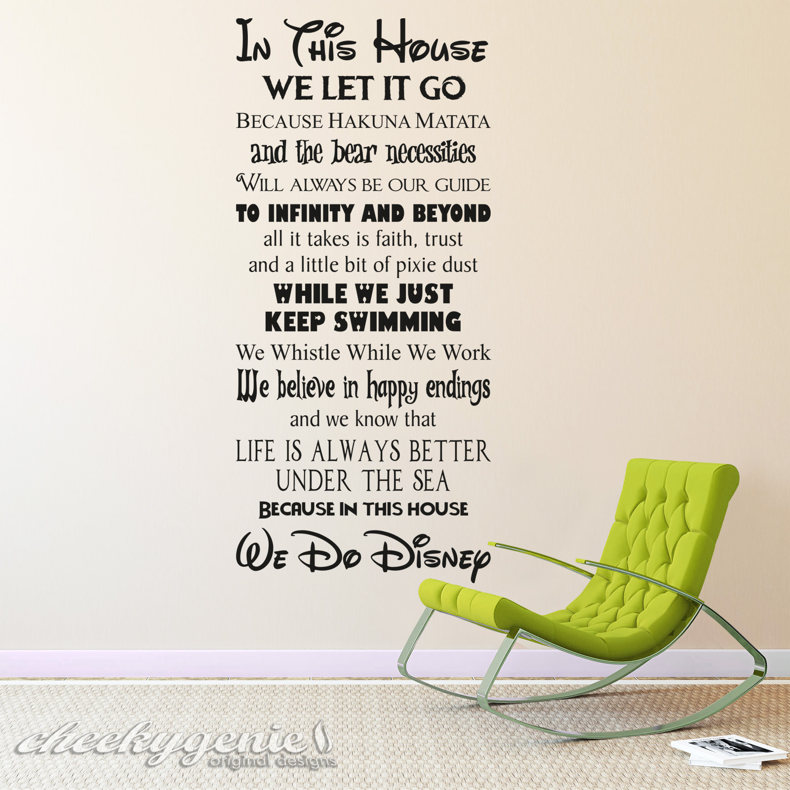 Wall Art Quotes Disney : In this house we do disney style quote rules vinyl wall