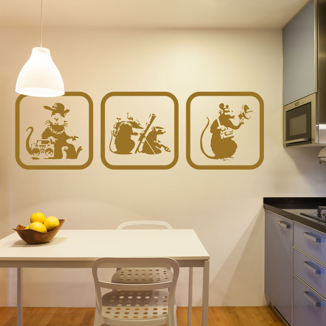 Set of 3 Banksy Rat Pictures in Frames. Vinyl Wall Art Sticker Decal ...