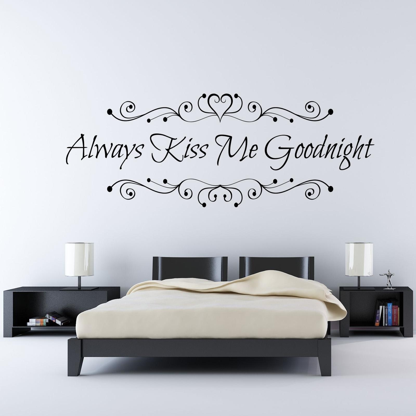 Always Kiss Me Goodnight Bedroom Vinyl Wall Art Love Quote Sticker ...