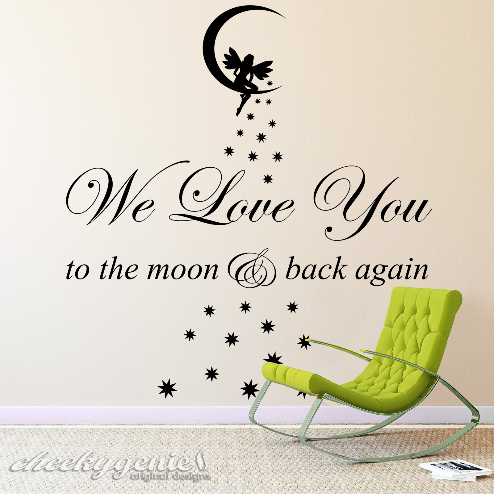 we love you to the moon back vinyl wall art sticker childs room