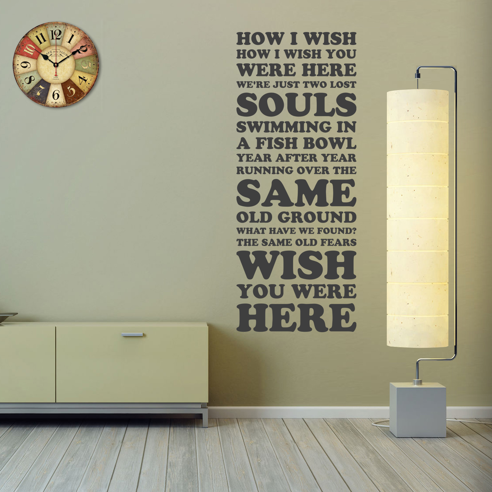 Pink Floyd Wish You Were Here Song Lyrics Two Lost Souls Vinyl Wall
