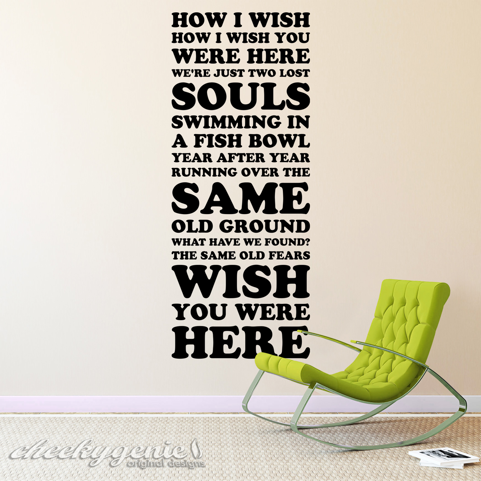 Pink Floyd Wish You Were Here Lyrics Two Lost Souls Vinyl Wall Art Silhouette Ebay