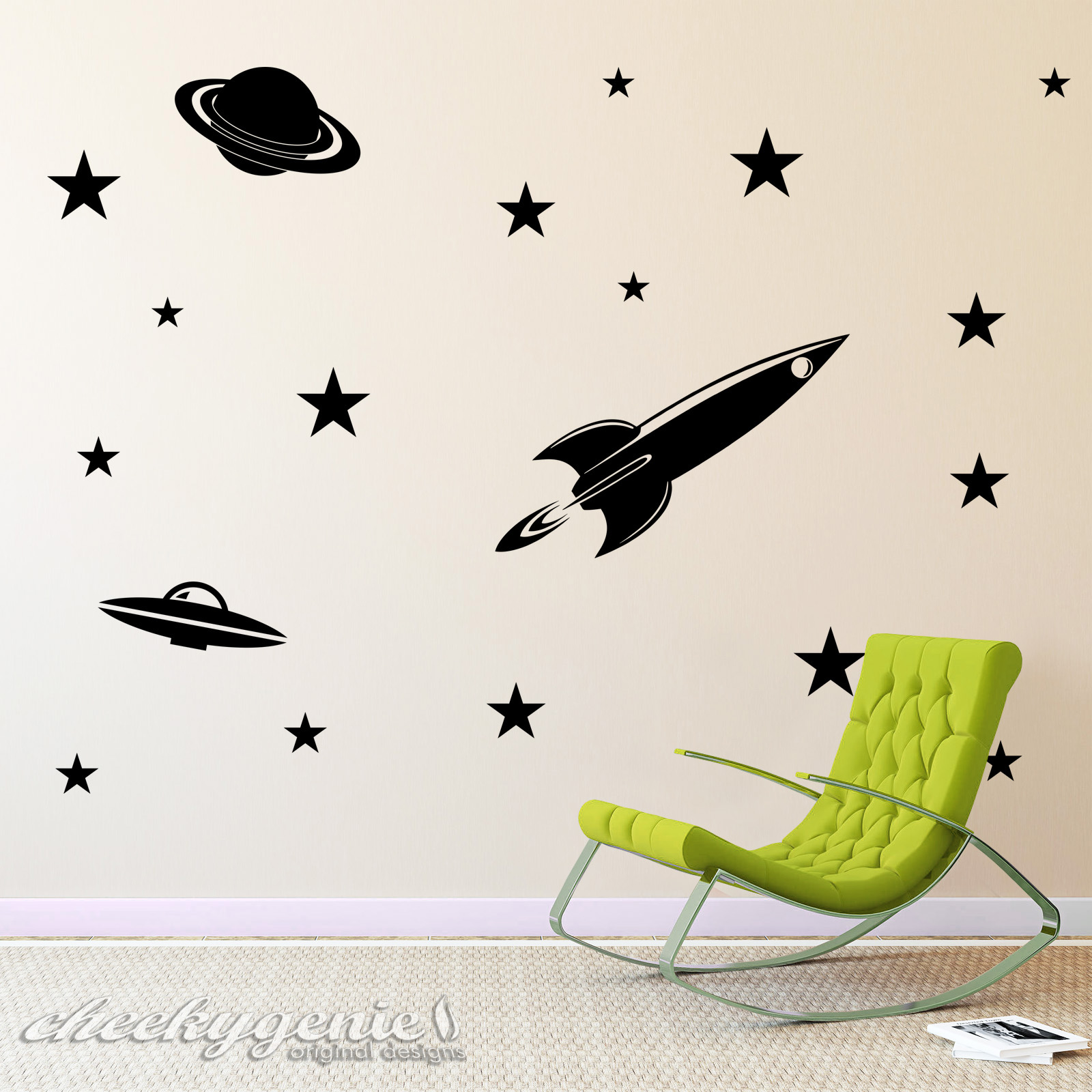 space theme vinyl wall art rocket planet ufo stars boys. Black Bedroom Furniture Sets. Home Design Ideas
