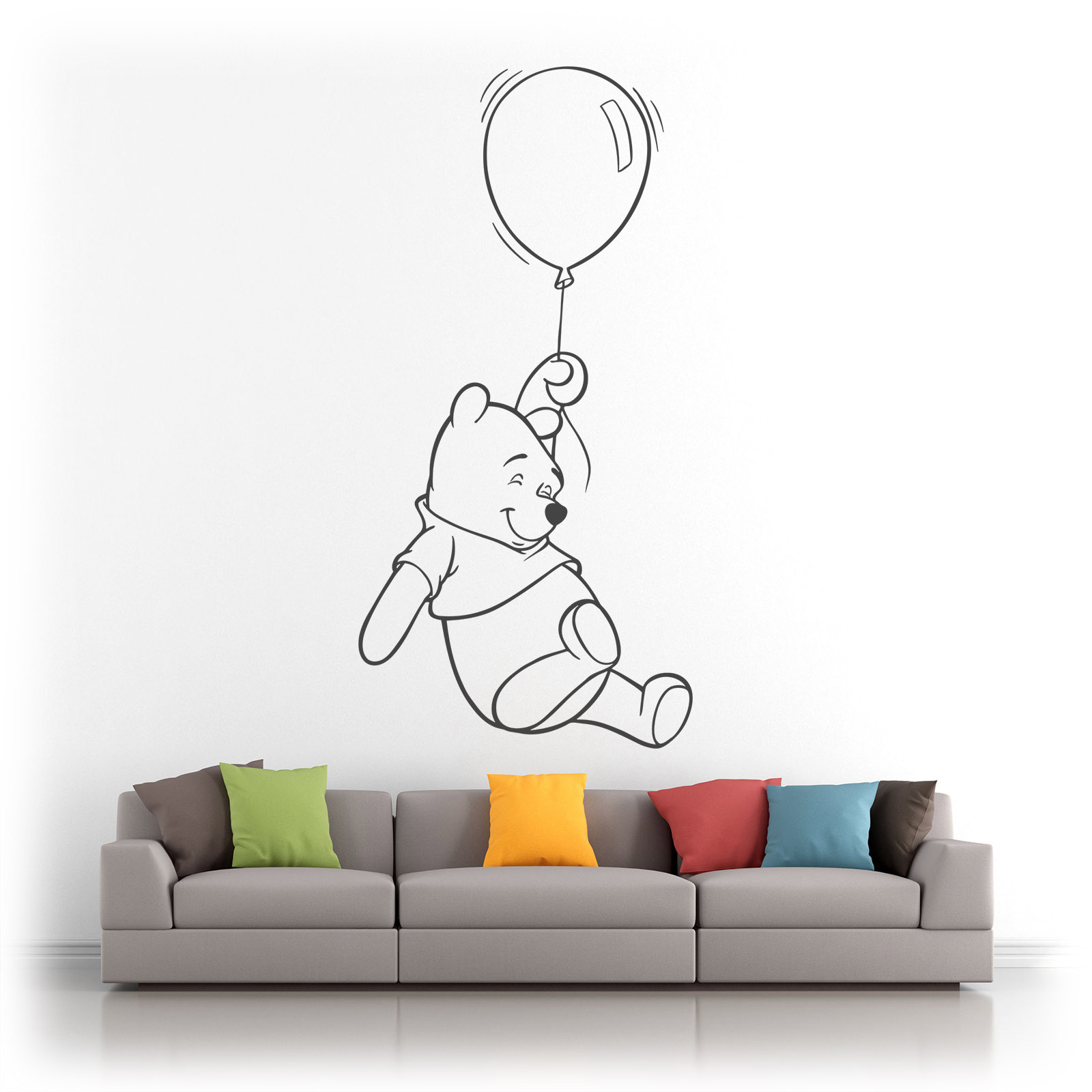 Winnie the Pooh Floating with a Balloon Vinyl Wall Art - Matt Finish  sc 1 st  eBay & Winnie the Pooh Floating with Balloon Vinyl Wall Art Sticker Decal ...